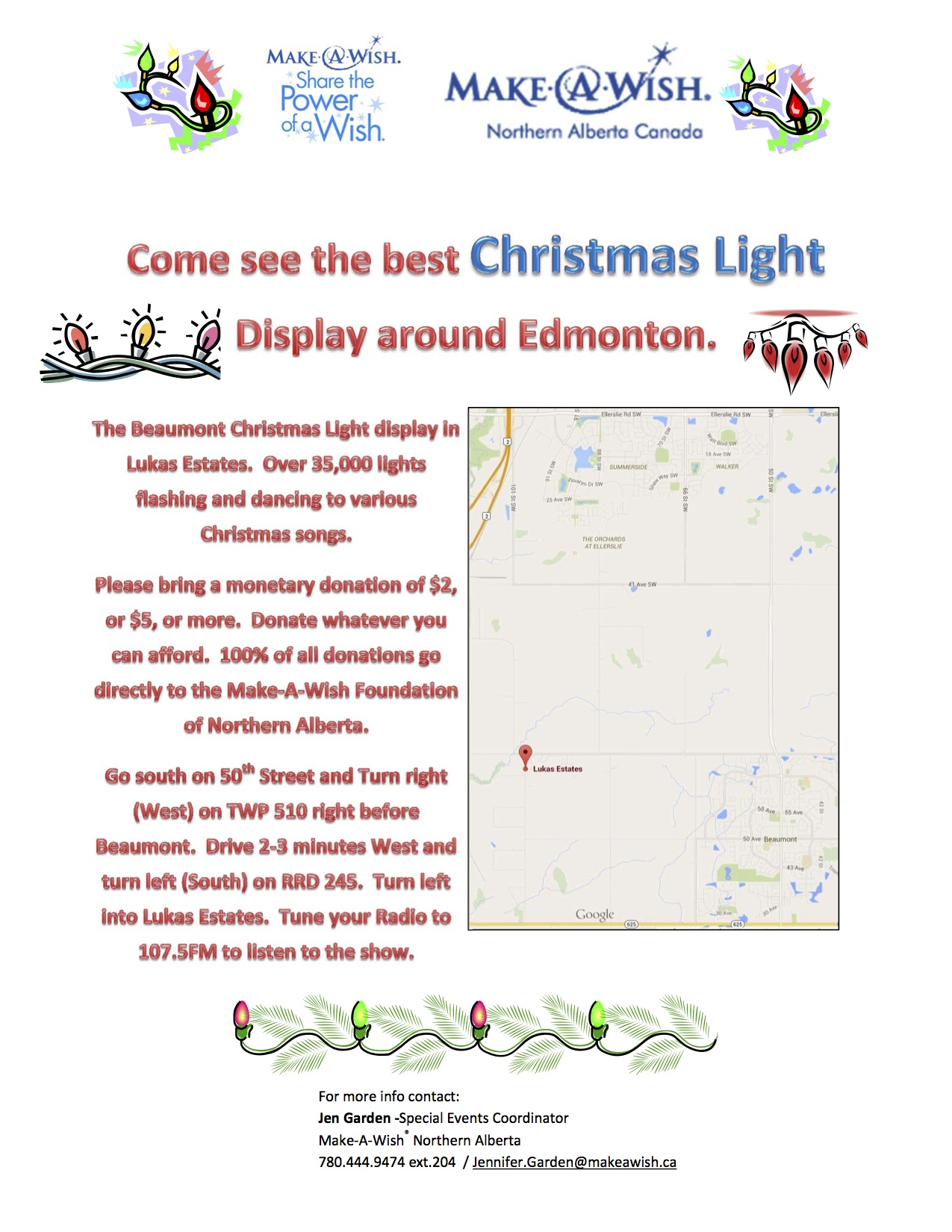 Help support the Make-A-Wish (Northern Alberta) Foundation - visit the Beaumont Christmas Light Display, created by Coach Bernard (Under 10 Girls 'X').