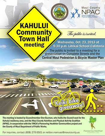Central Maui Pedestrian and Bicycle Master Plan meeting poster.