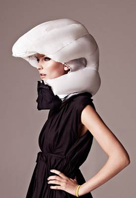 An invisible bike helmet, the Hovding deployed airbag.