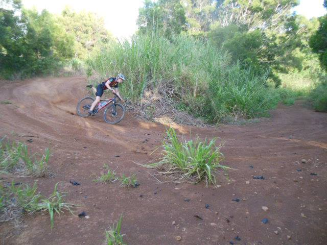 Image of a professional bike mechanics ride on a West Maui mountain bike trail.