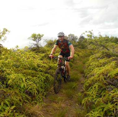 Mountain biking on the XTerra world championship course at Kapalua.