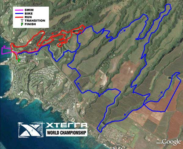 A map of the Kapalua 2011 Xterra course route