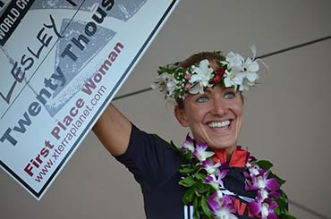 Maui XTerra World Champion 2012 Women, Lesley Paterson from Scotland holds the check