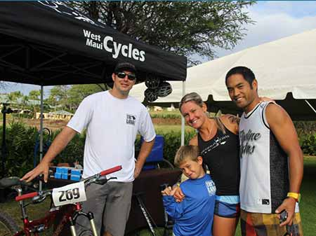 West Maui Cycles with TriLanai winner Bree Wee before the triathlon on Lanai.