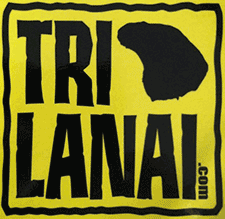 TriLanai logo for Lanai triathlon in Maui county with biking, swim and running.""