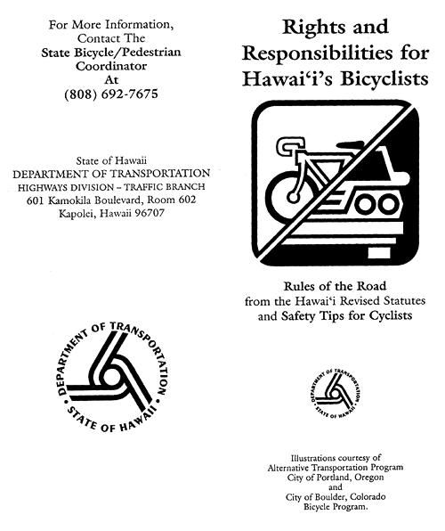"Hawaii DOT Rights and Responsibilities of Hawaii Bike Riders"""