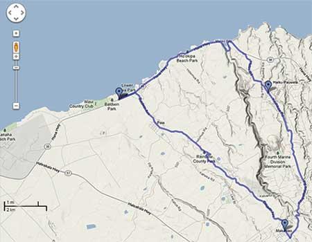 A Maui bike loop ride map from Paia to Ho'okipa and Makawao.
