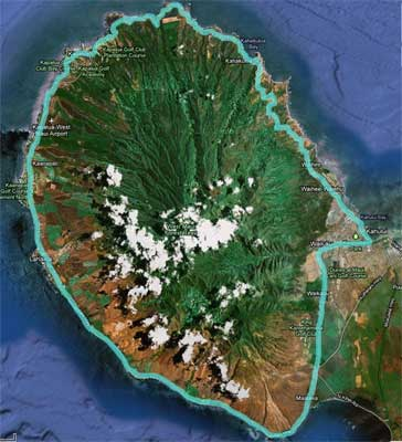 Arial image showing the West Maui Loop bike route.