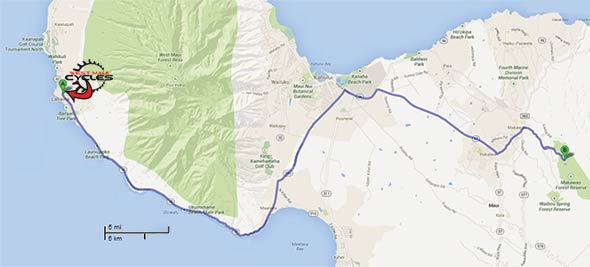 Map of drive from Lahaina bike shop to Makawao Forest Reserve mountain bike trails.