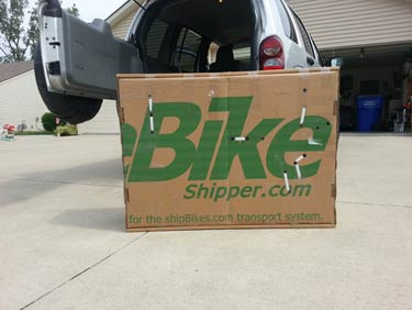 A bike shipping box ready for shipping a bicycle to Maui.