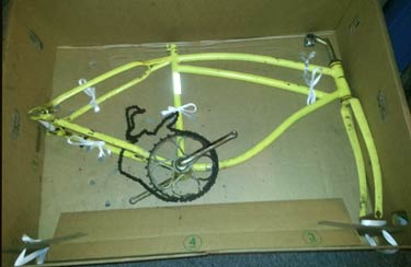 The bike frame boxed and ready for bike shipping to Maui.