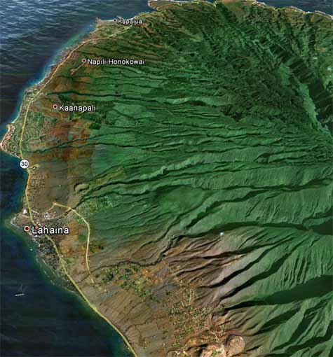 Map of West Maui terrain for mountain biking above Kaanapali and Kapalua.