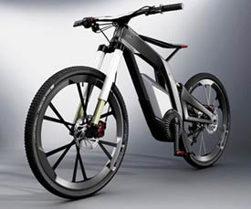 Front View of the futuristic Audi e-bike.