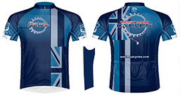 Cycling jersey with West Maui Cycles logo and Hawaiian flag graphics.