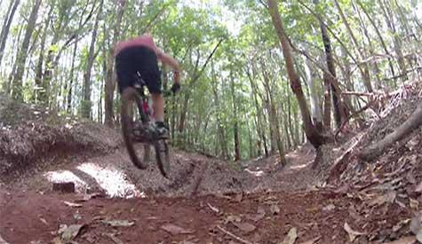 PinkBike rider C. Friesen mountain biking in the Makawao Forest Reserve.