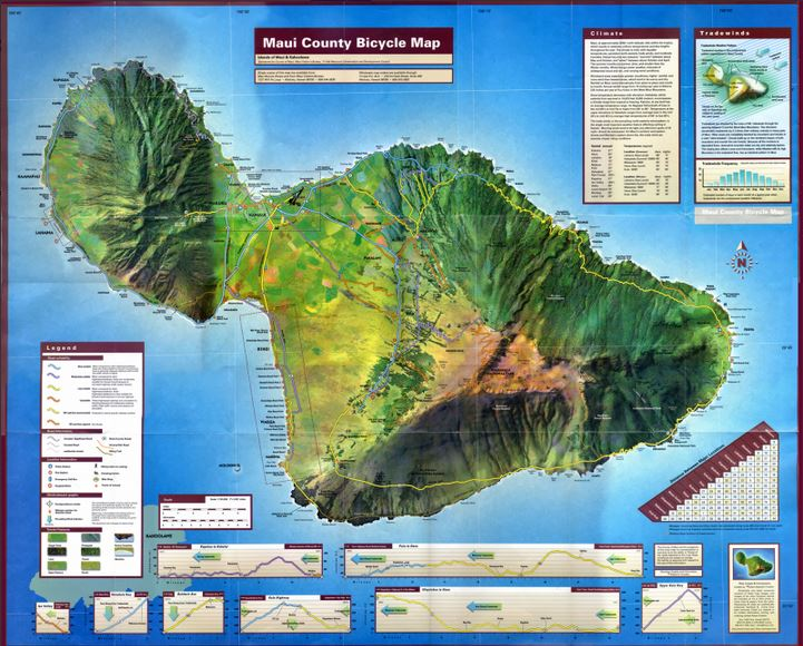 Maui Count Bicycle Map, a little outdated but a good reference