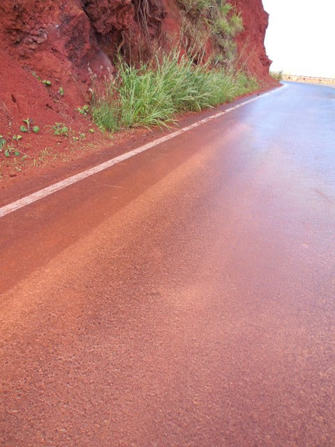 Often after night time rains the hillsides wash onto the roads, leaving a very slick thin layer of Maui clay. Use caution.