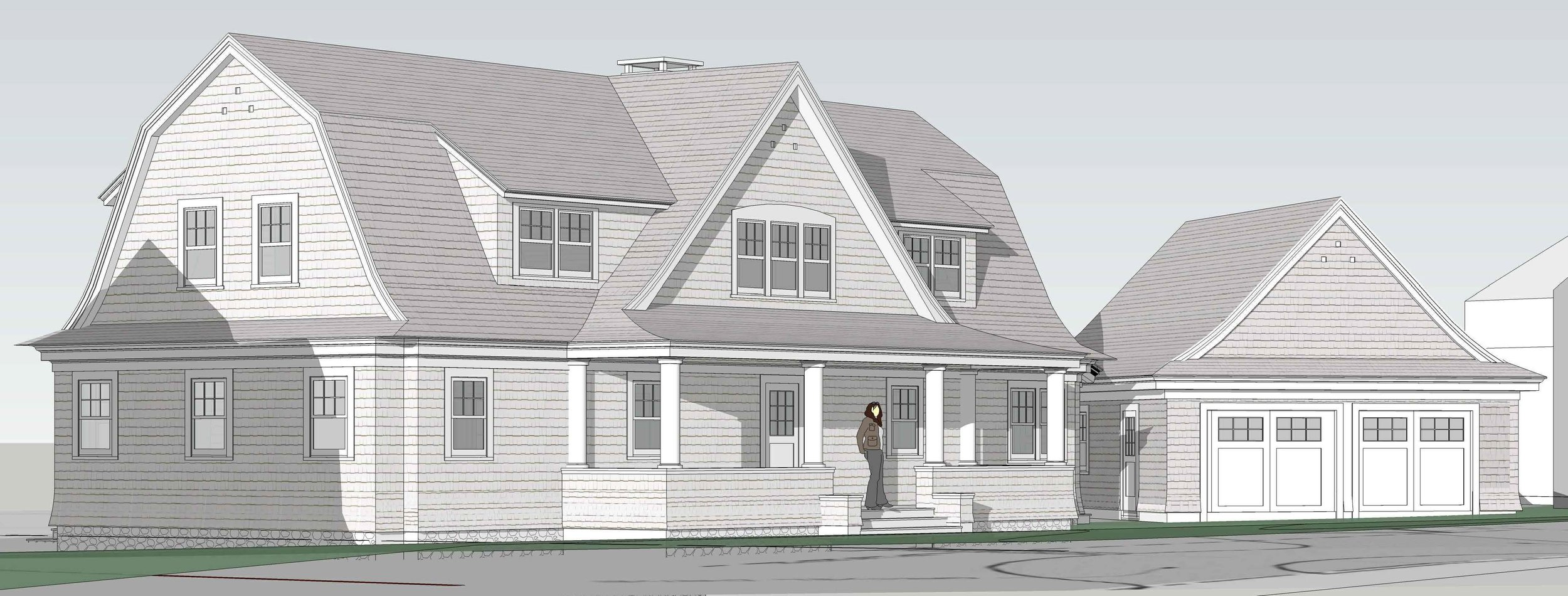 Rendering of New Shingle Style Home