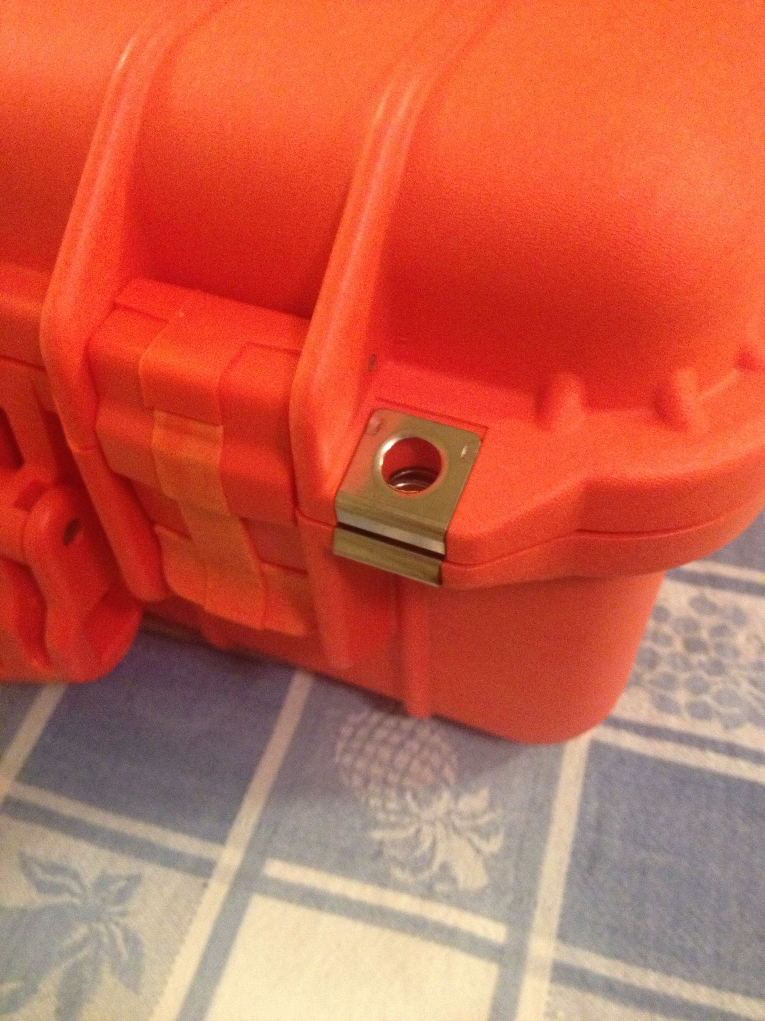 two steel holes for locking purposes & watcher proof latches.