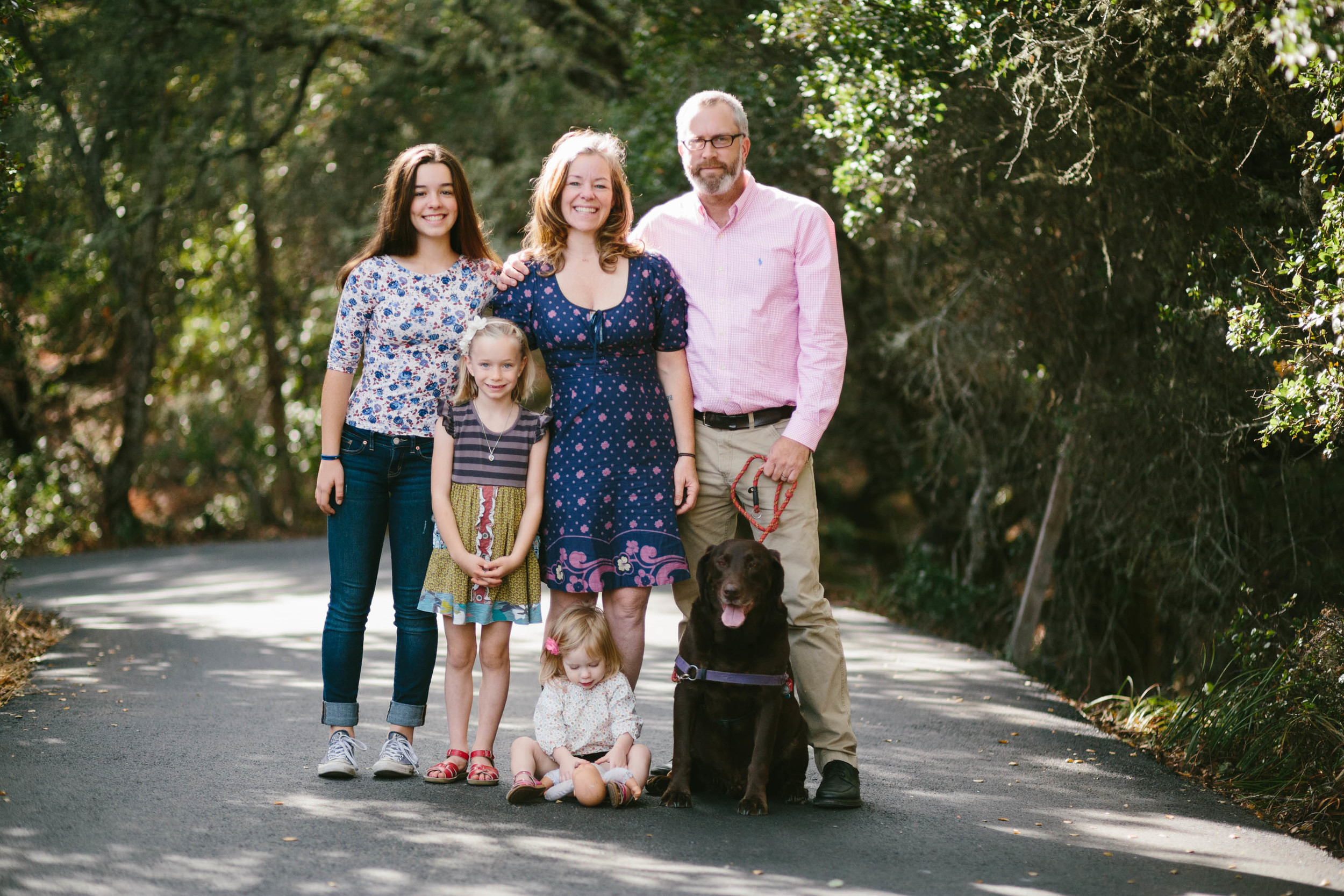 Fairfax Family Portraits by Anise LeAnn in Marin County, California.  Family of 5: 3 daughters and chocolate lab