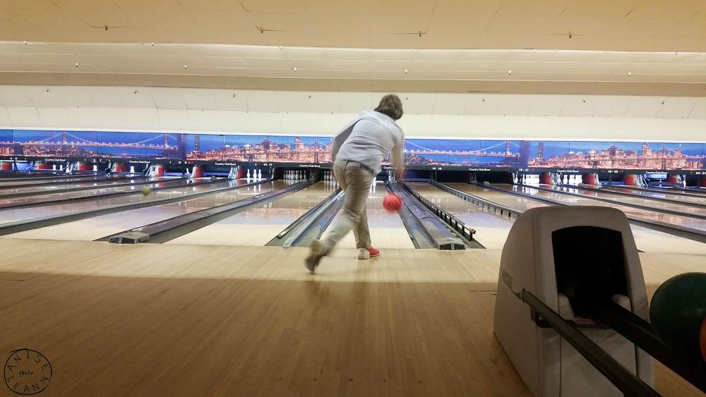 Bowling at Country Club Bowl in San Rafael, CA.  On Nick: Pants: Levis, Shirt: Jcrew