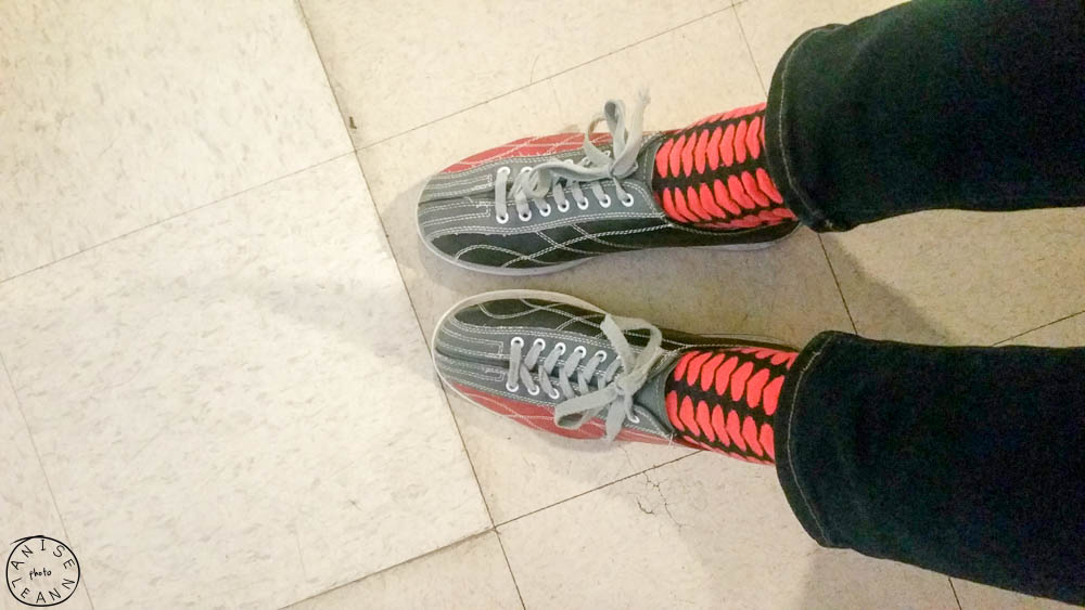 Bowling at Country Club Bowl in San Rafael, CA.  Shirt: H&M, jeans: levis from jeans to a T in San Rafael, socks: Jcrew