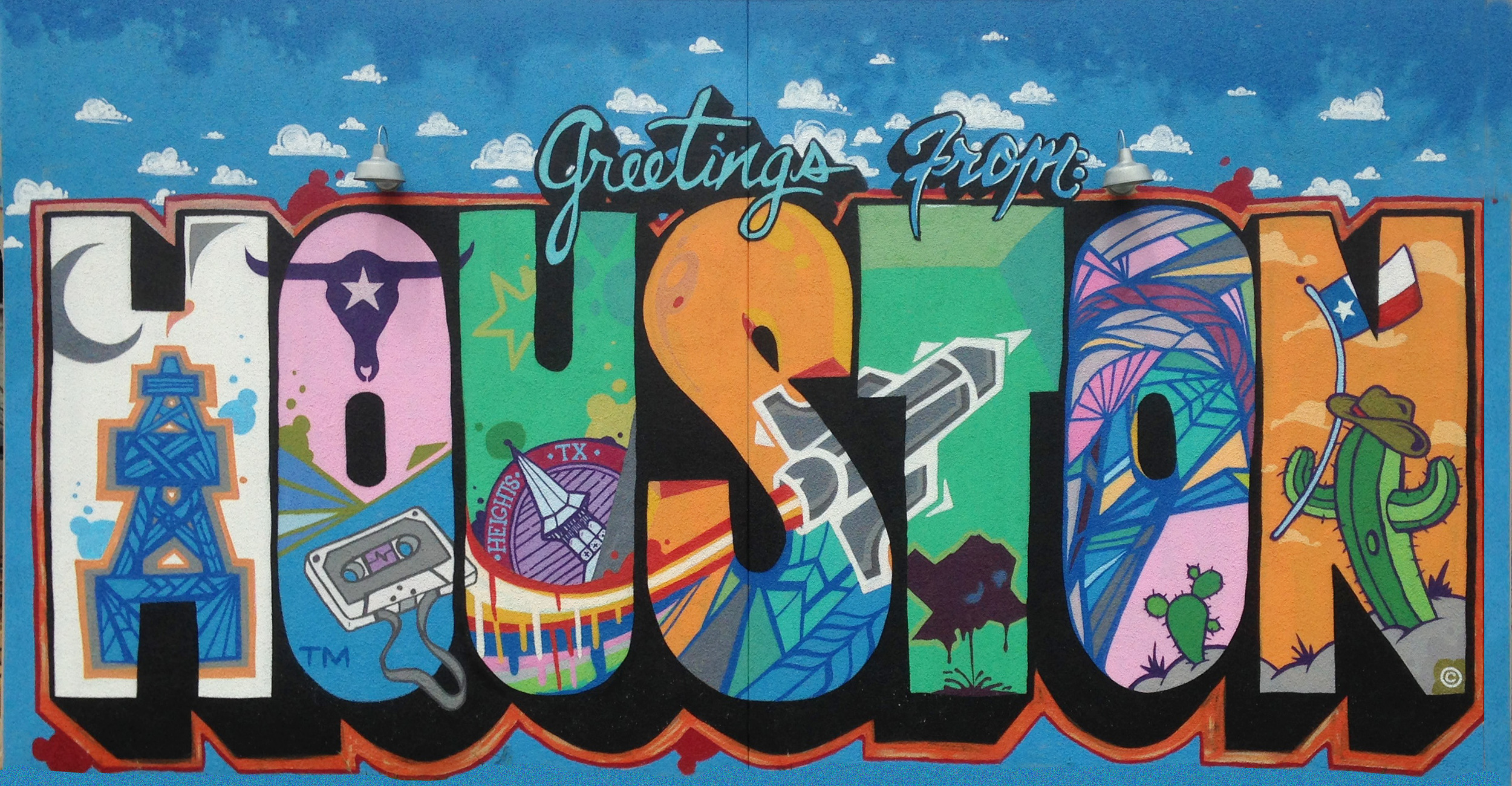 Mural by Daniel Anguilu, Houston Heights