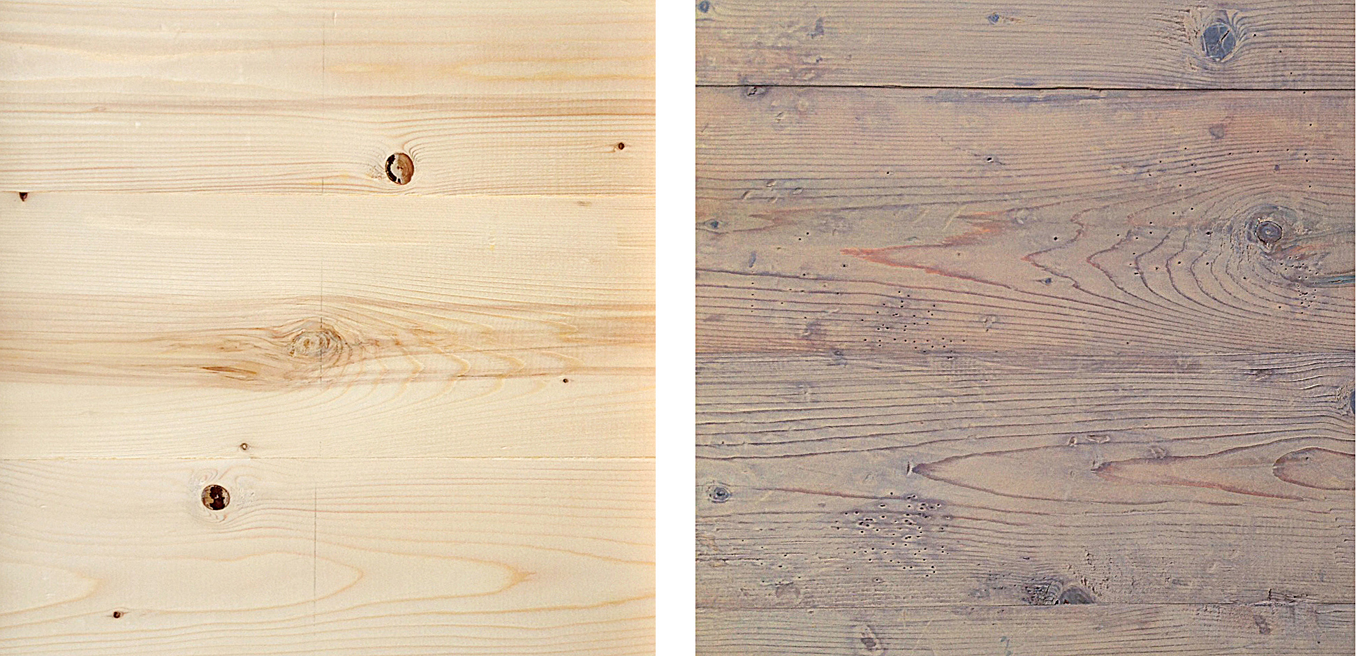 A fresh pine board glue up, and it's reverse side treated with distress marks, fake worm holes and a vinegar and steel wool aging recipe.  Click image to enlarge.
