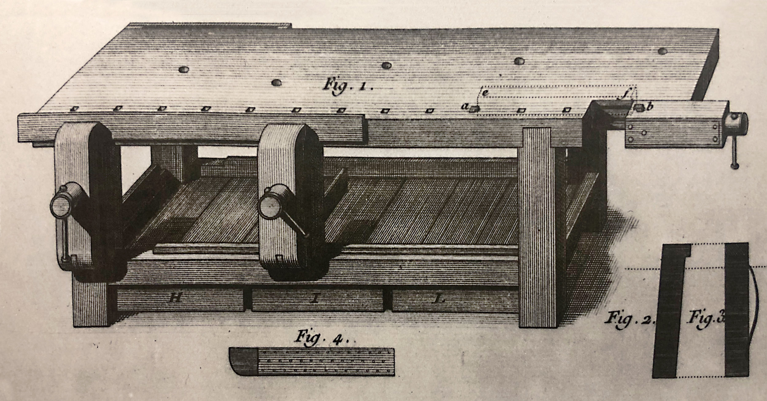 An illustration of a late-1700s German cabinetmaker's bench and an ad for a 1920s mass-produced workbench selling for $22.50. From The Workbench Book by Scott Landis, 1987, Taunton Press, Inc.