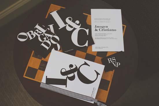 Keeping with the modern black and white theme, Imogen designed her bold invitations herself,  suiting the couples personality perfectly!