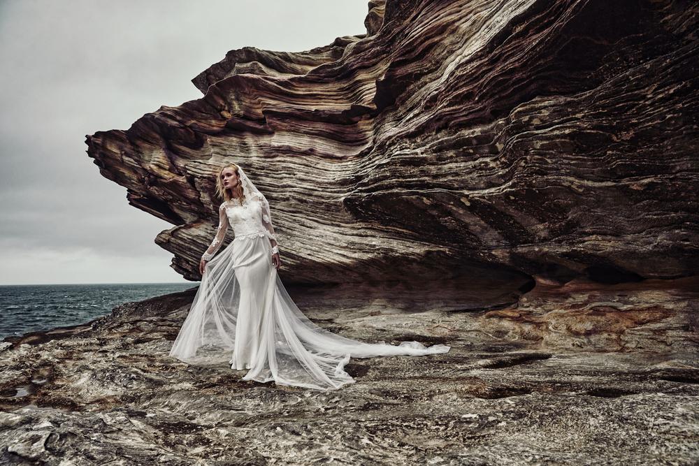Indianna+lace+sleeve+wedding+dress