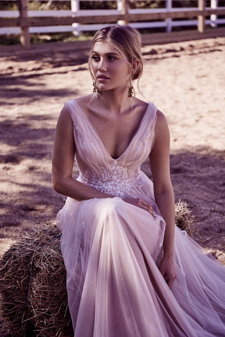 7e75cb02b07c The Casey - beautiful blush tulle with hand embellished lace detail, deep V  neckline and