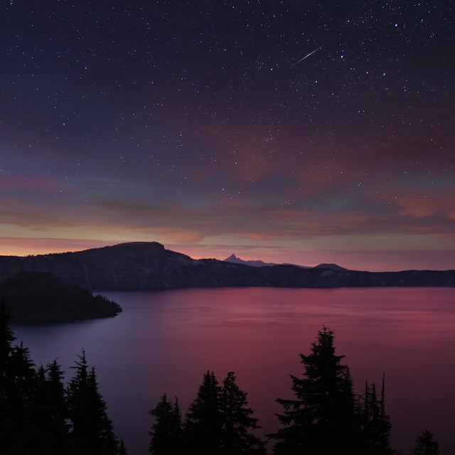Double exposure of a surreal sunset and clear night sky at Crater Lake last week.