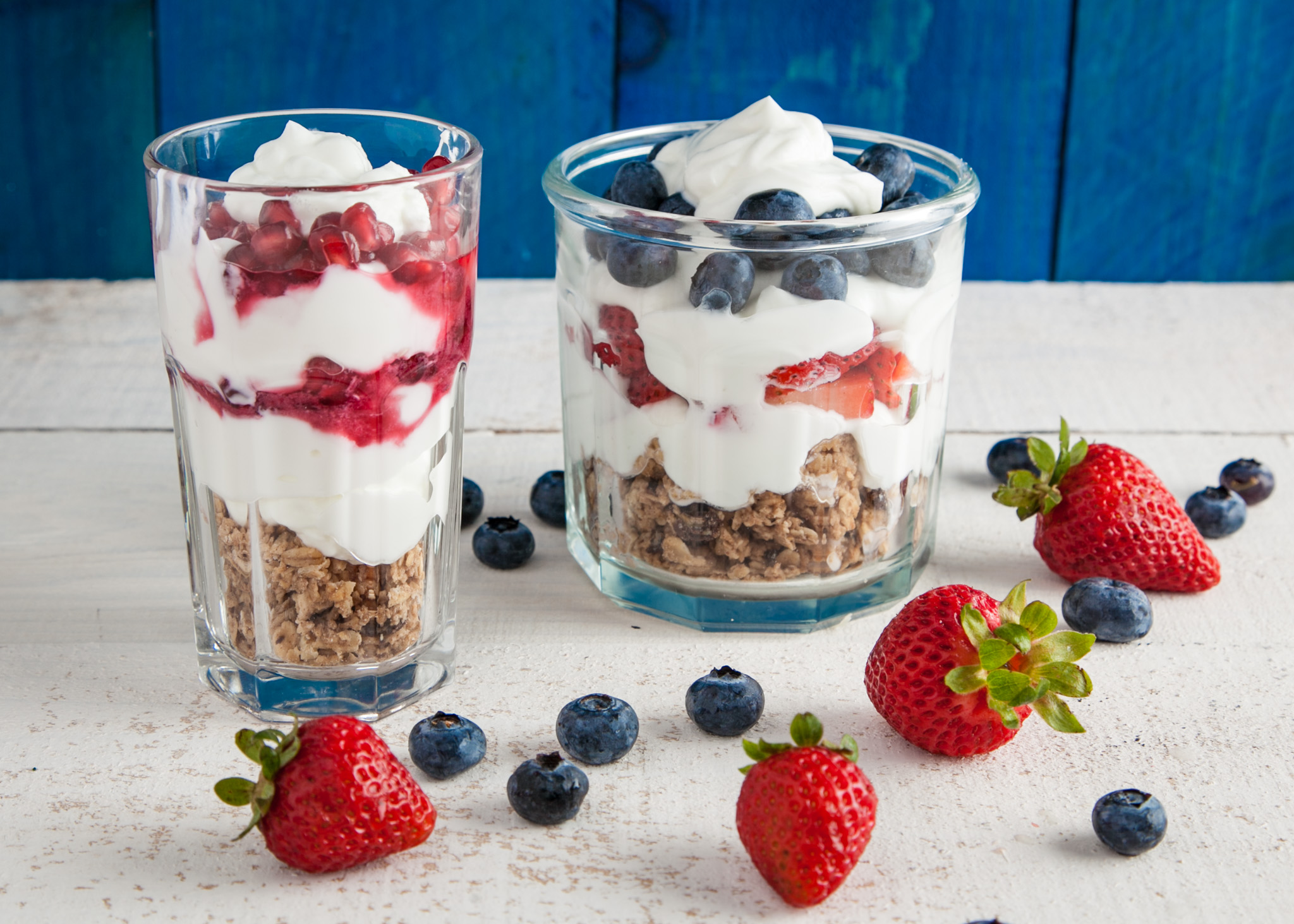 Soy yogurt with granola, fresh a selection of fresh fruits and berries
