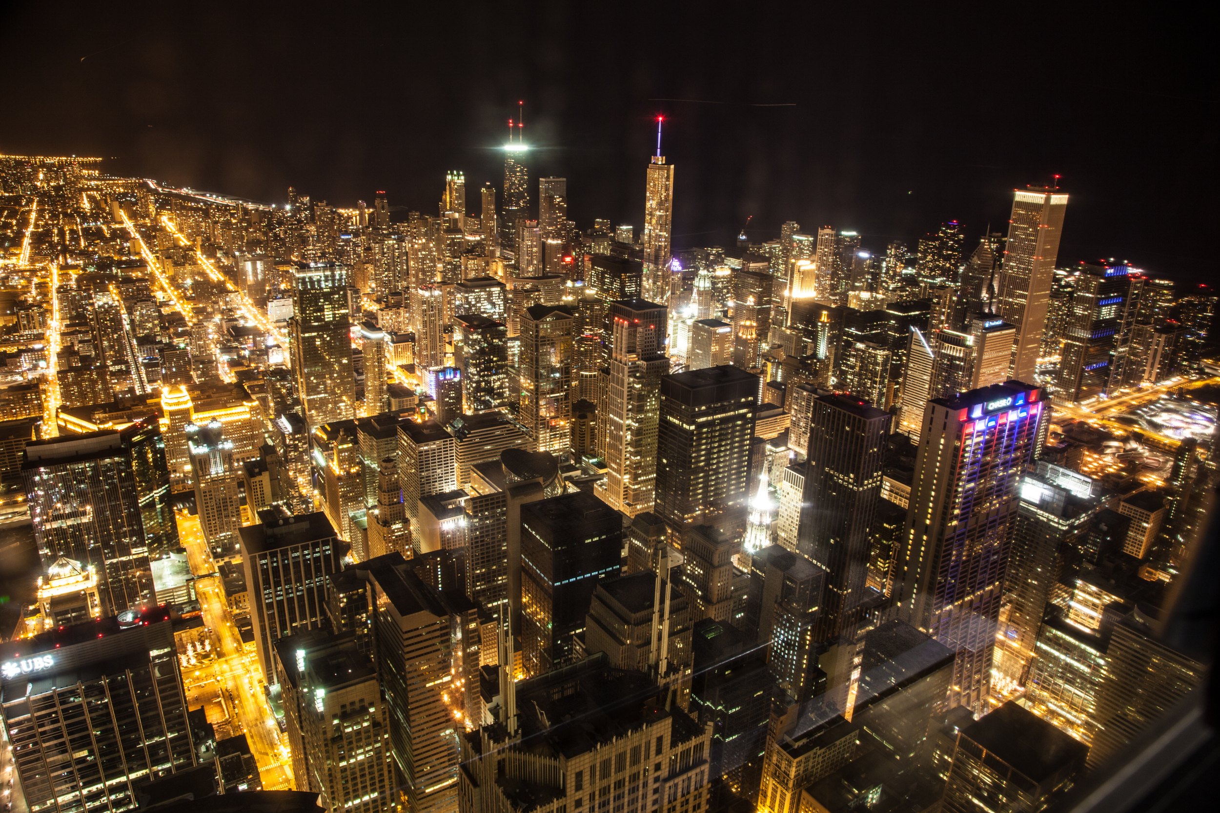 This is the view from the Sky deck at the top of Willis Tower in Chicago