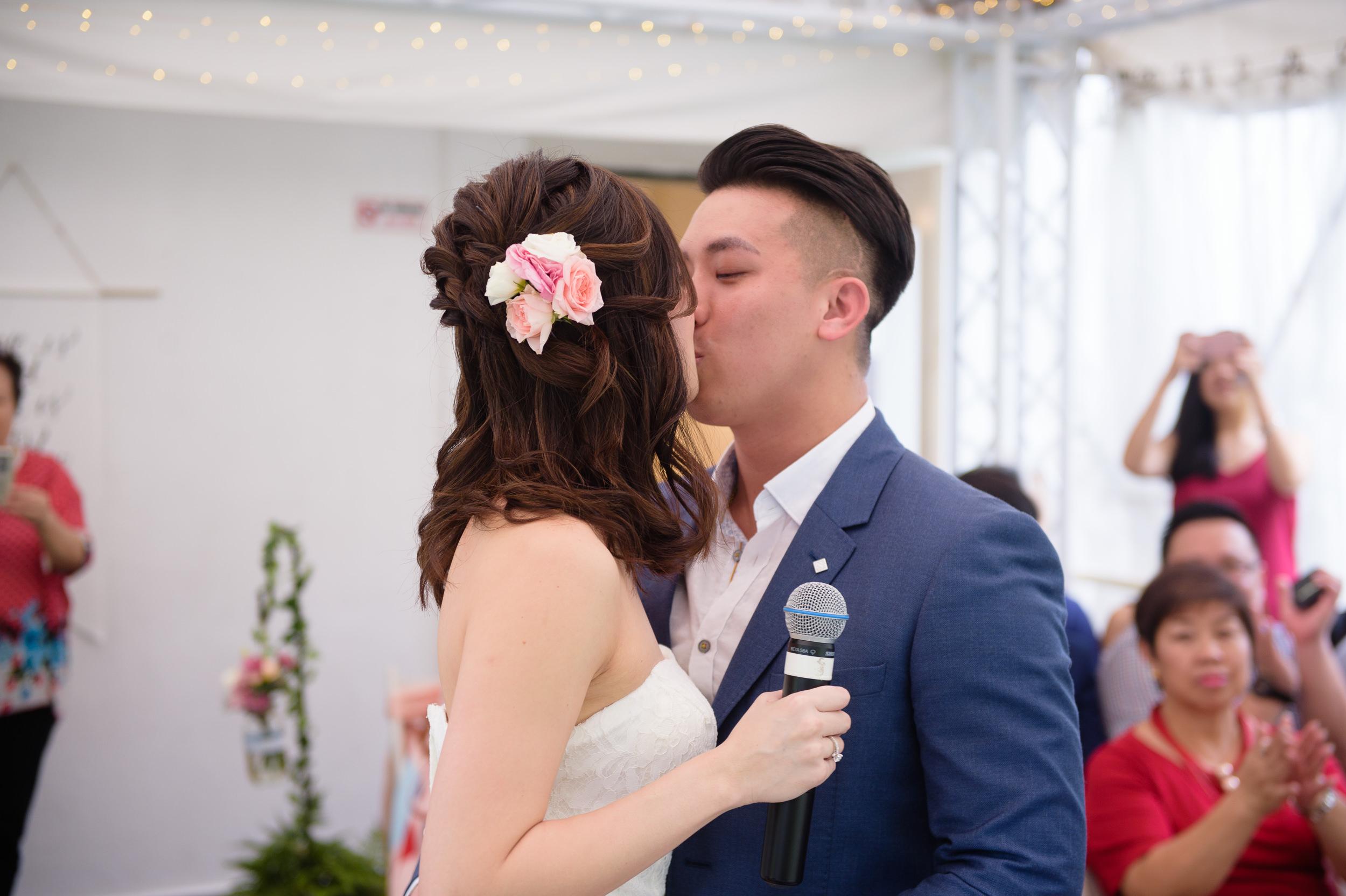 Wedding kissing couple Singapore