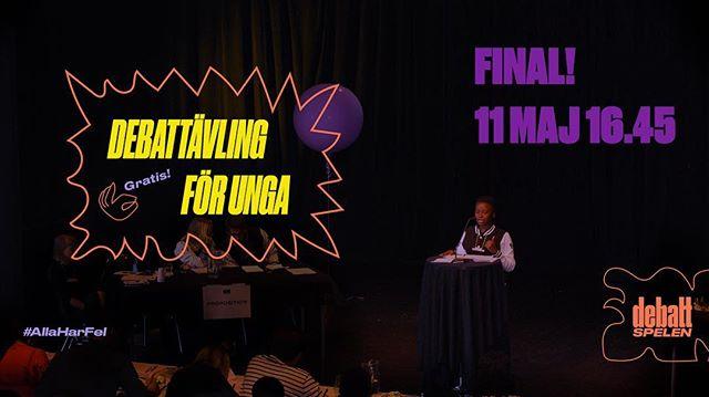 Den 11 maj är det dags för finalen i Debattspelens sista(!) termin på Kulturhuset Stadsteatern i Skärholmen.  Kom och hör framtidens makthavare debattera! 🗣