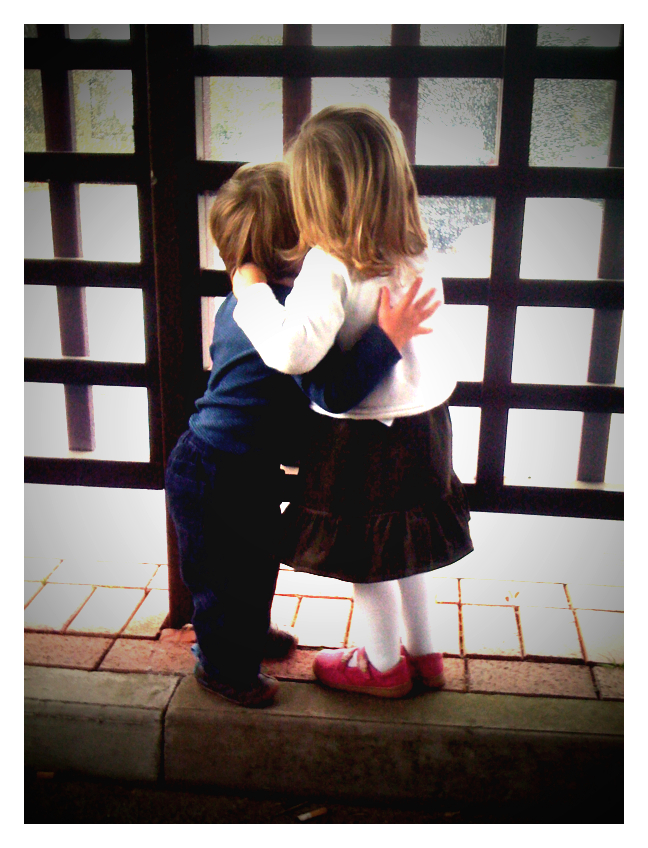 One of my favourite photos - 2 of my grandchildren, cousins, standing a little apart from the rest of the family at the Crematorium, just after my mother's funeral and before the Thanksgiving service.  Too young to know what was going on, but maybe sensing our sadness, and comforting each other with a cuddle.