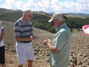 sharing communion on the walk to Montalcino