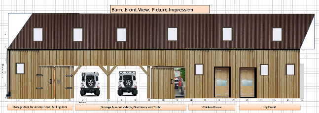 Architect's design for the barn. They discovered the ground is seismic and had to redo the plans - pro bono all the way.