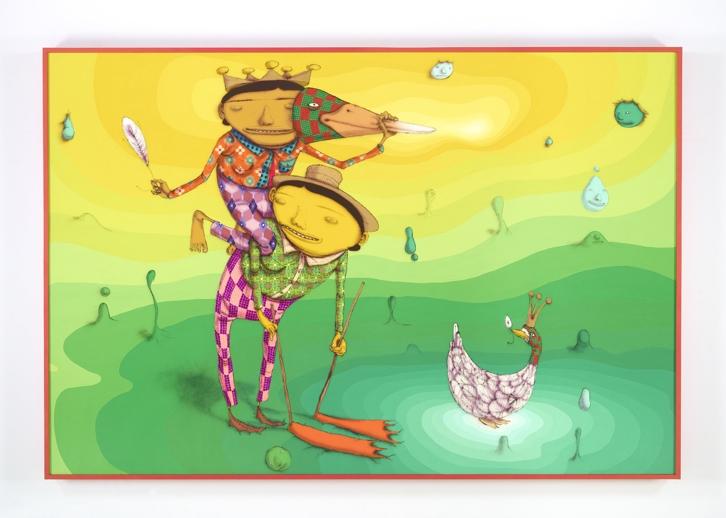 OSGEMEOS O Pato Rei (The King Duck), 2016 mixed media on wood board 109.84 x 74.41 x 5.51 inches (framed) 279 x 189 x 14 cm Photo: Max Yawney Courtesy the artists and Lehmann Maupin, New York and Hong Kong