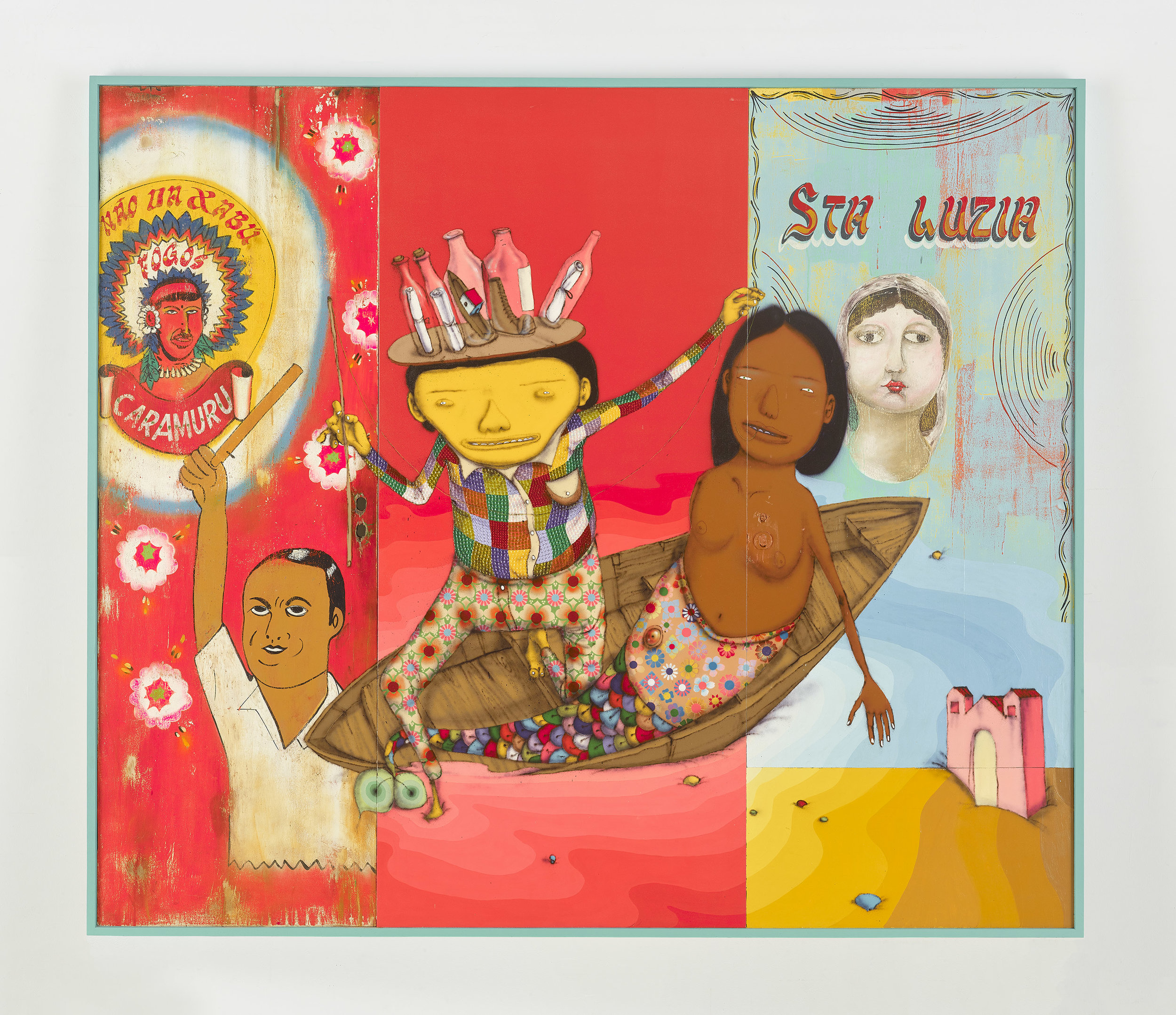 OSGEMEOS Um segredo do mar (Secret from the sea), 2015 mixed media with sequins on wood doors 84.375 x 98 x 2.75 inches (framed) 214.3 x 248.9 x 7 cm Photo: Max Yawney Courtesy the artists and Lehmann Maupin, New York and Hong Kong