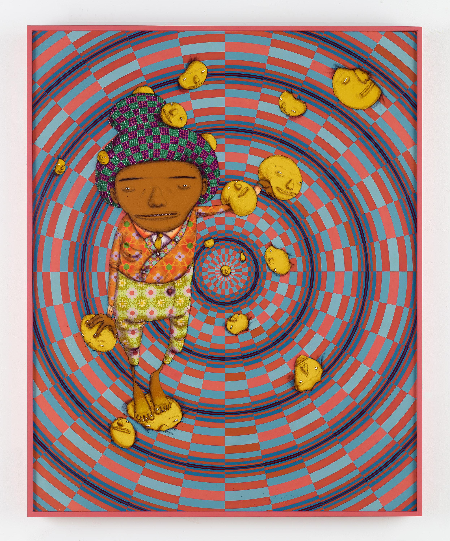 OSGEMEOS O Sonho Feliz (The Happy Dream), 2016 mixed media on wood board 80.375 x 64.75 x 4.375 inches (framed) 204.2 x 164.5 x 11.1 cm Photo: Max Yawney Courtesy the artists and Lehmann Maupin, New York and Hong Kong