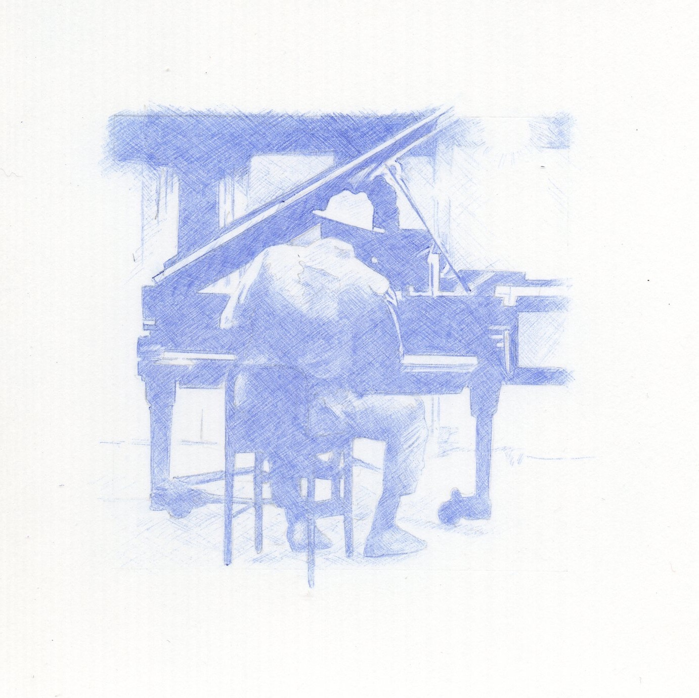 Thelonius Monk 2x2 inch blue ball point pen drawing. Done in 2005
