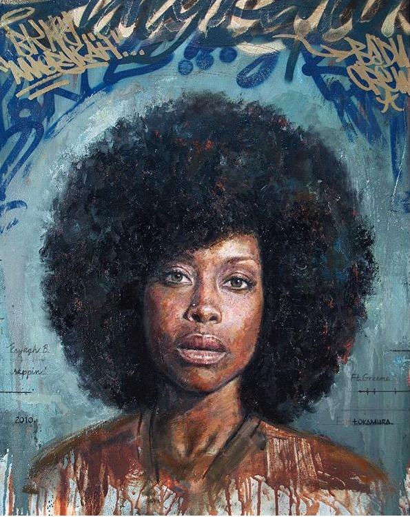 "Artwork by  Tim Okamura  ""Erykah"", 30 x 26"", oil, aerosol, paint marker on canvas"