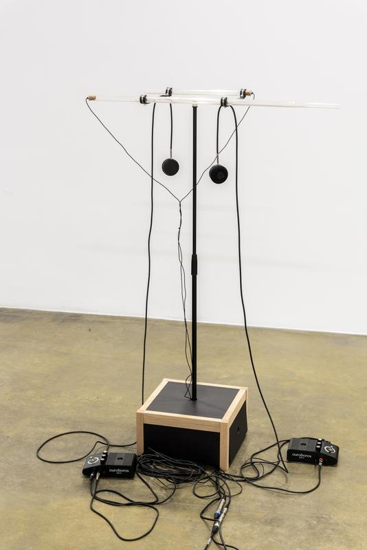 Tarek Atoui   Ouroboros   2016  Plastic tubes, microphones, transducers, electronic box - Practice book, music scores, activating instructions and 12 min. sound piece by Tarek Atoui 158 x 157 x 41 cm