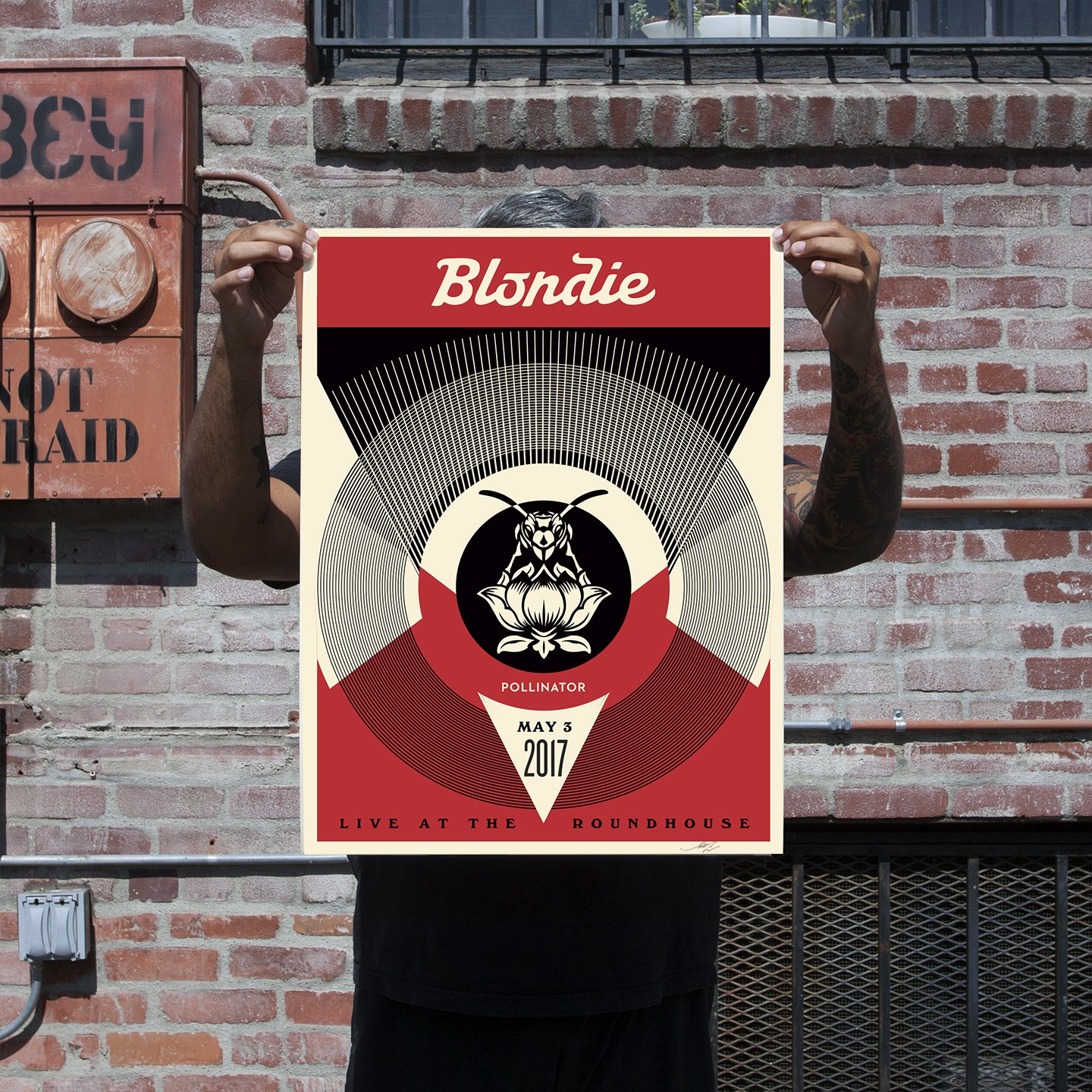 Live at the Roundhouse (Red). 18 x 24 inches. Screen print on cream Speckle Tone Paper. Signed by Shepard Fairey. Numbered edition of 150. $45. Available Thursday, June 22 @ 10AM (PDT) on  ObeyGiant.com in Store under Prints. Limit 1 per person/household.