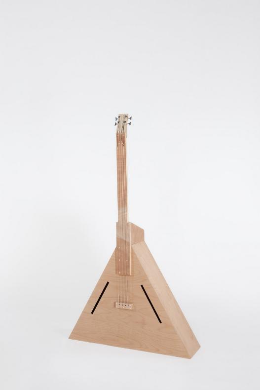"""Instrument 02 (Triangle - Contrabass)"" , 2017 / Beech plywood, okoumé plywood, fir, mechanical elements, steel / 81 1/2 x 47 1/4 x 13 in / Unique artwork"