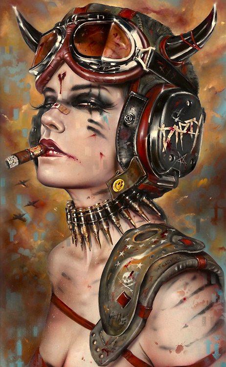 "Brian Viveros Metal Head (2017)  12"" x 20""_oil , acrylic on maple board"