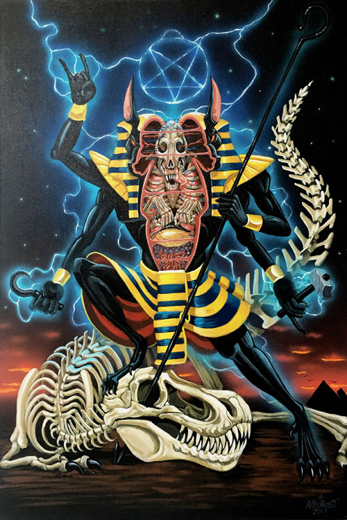 "Nychos The Redeemer of the Powerslave (2017) Acrylics on canvas, 36"" x 24"""